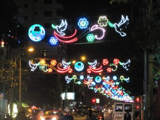 Иллюминация в честь Нового года, Нячанг, Вьетнам