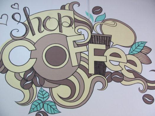 Граффити в кофейне An Tea Coffee (Ан Дао)