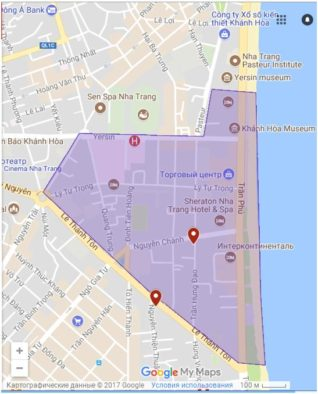Скриншот карты района Нячанг Центра