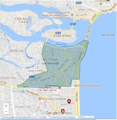 Скришнот карты района рынка Чо Дам