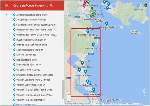 Карта отелей по пути из Камраня в Нячанг и на пляже Бай Зай