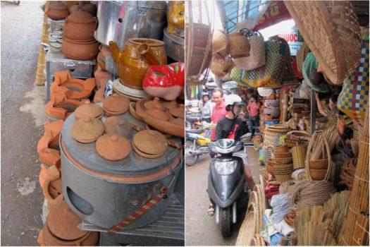 Керамика и плетеные вещи на рынке Чо Дам