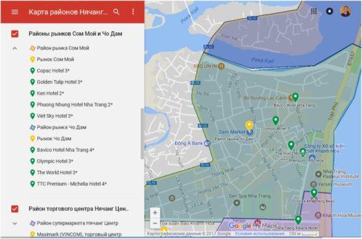 Карта отелей в районе рынка Чо Дам