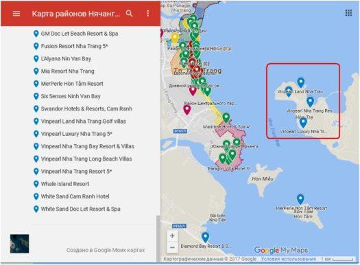 Карта отелей сети Vinpearl