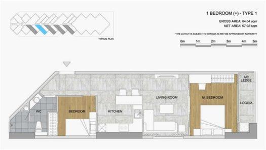 Квартира 1BR+ в кондоминиуме Scenia Bay