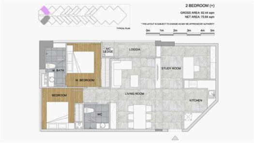 Квартира 2BR+ в кондоминиуме Scenia Bay