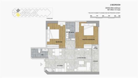 Квартира с 2 спальнями (2BR) в Scenia Bay