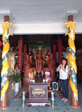 Apart-hotel manager Tham Nguyen in temple