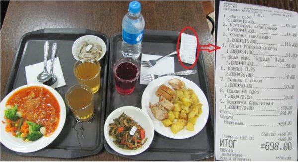 Обед в столовой аэропорта Владивостока