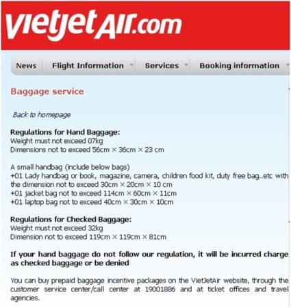 Нормы провоза ручной клади VietJetAir зимой 2018